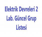 Elektrik Devreleri 2 Lab. Güncel Grup Listesi